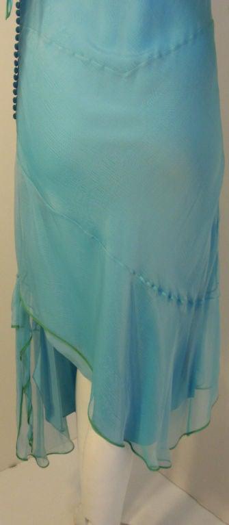 Christian Dior Aqua Blue Chiffon Dress, Circa 1990's 9