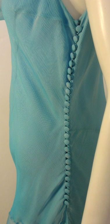 Christian Dior Aqua Blue Chiffon Dress, Circa 1990's 10