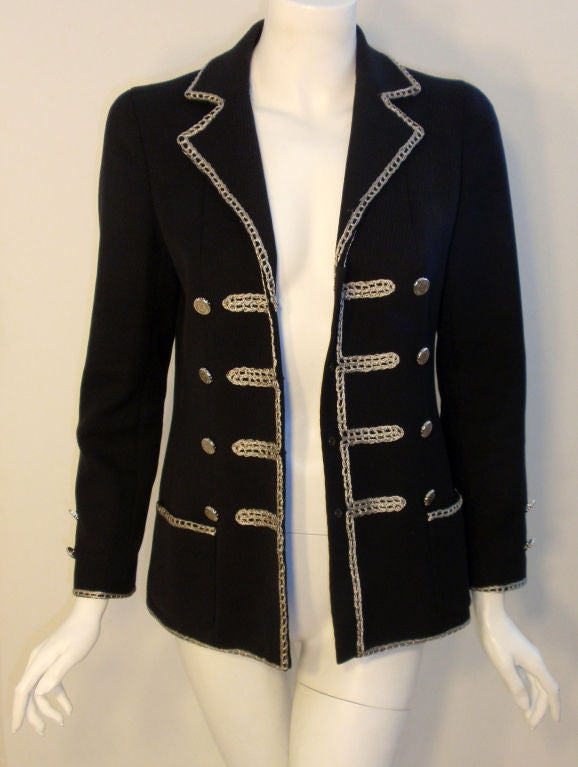 Chanel Navy Blue Blazer With Silver Trim, Circa 1990 3