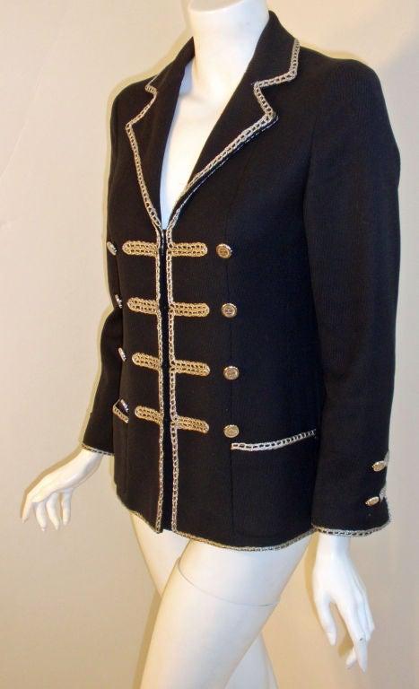 Chanel Navy Blue Blazer With Silver Trim, Circa 1990 4