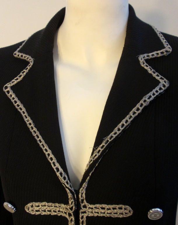 Chanel Navy Blue Blazer With Silver Trim, Circa 1990 8