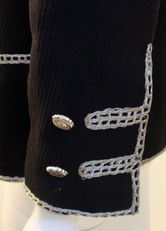 Chanel Navy Blue Blazer With Silver Trim, Circa 1990 9
