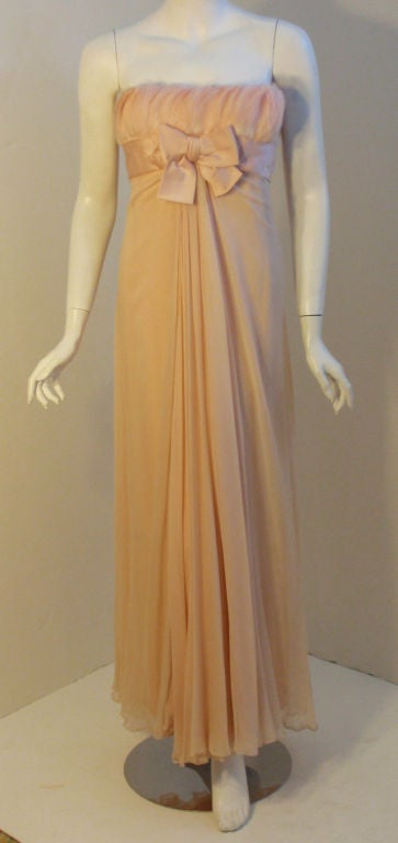 1960's Sarmi Pale Blush Pink Peach Chiffon Gown with Feather Bust & Bow Detail 10