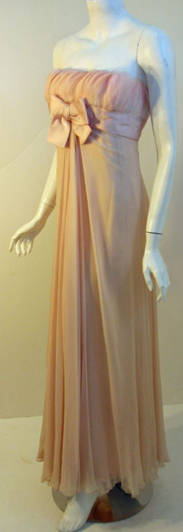 1960's Sarmi Pale Blush Pink Peach Chiffon Gown with Feather Bust & Bow Detail 2