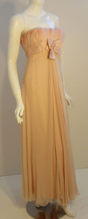 1960's Sarmi Pale Blush Pink Peach Chiffon Gown with Feather Bust & Bow Detail 3