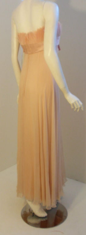 1960's Sarmi Pale Blush Pink Peach Chiffon Gown with Feather Bust & Bow Detail 4