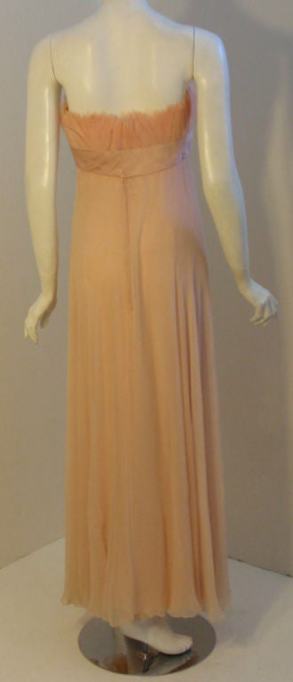1960's Sarmi Pale Blush Pink Peach Chiffon Gown with Feather Bust & Bow Detail 5