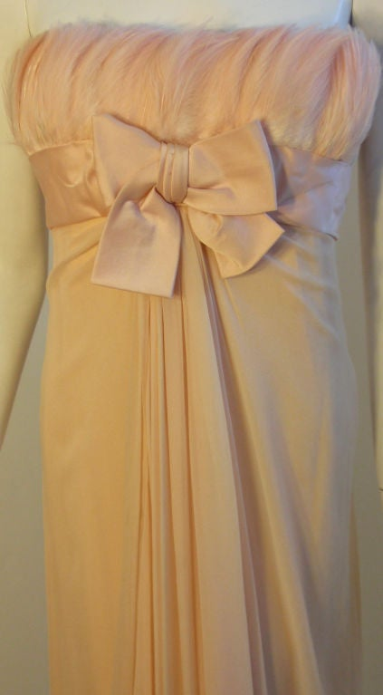 1960's Sarmi Pale Blush Pink Peach Chiffon Gown with Feather Bust & Bow Detail 6