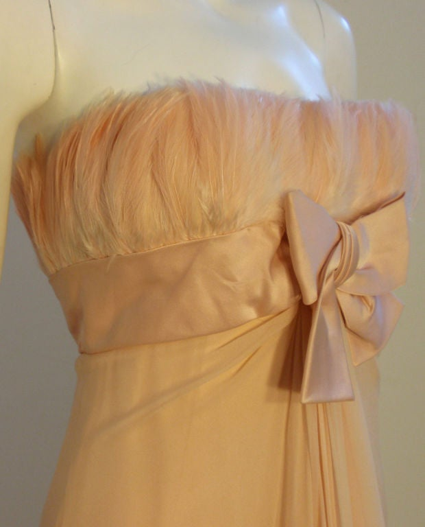 1960's Sarmi Pale Blush Pink Peach Chiffon Gown with Feather Bust & Bow Detail 7