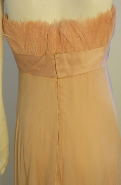1960's Sarmi Pale Blush Pink Peach Chiffon Gown with Feather Bust & Bow Detail 8