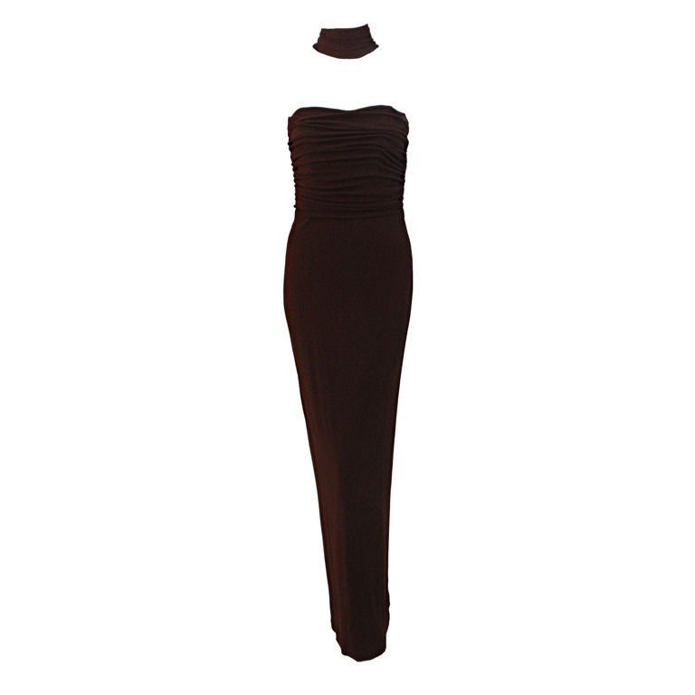 Halston Dark Brown Reverse Halter Backless Evening Gown