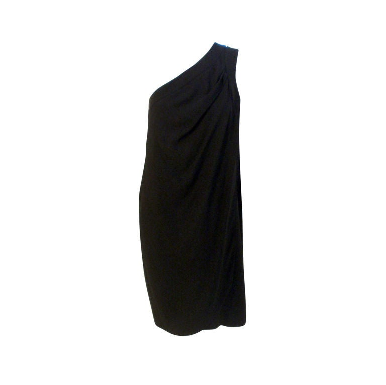 Valentino Black wool One Shoulder Cocktail Dress, 1980's size 8-10