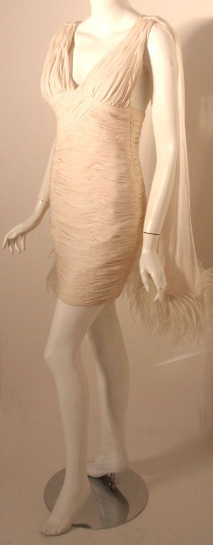 Beige I. Magnin White Ruched Cocktail Dress with Feathers, Circa 1990's  For Sale