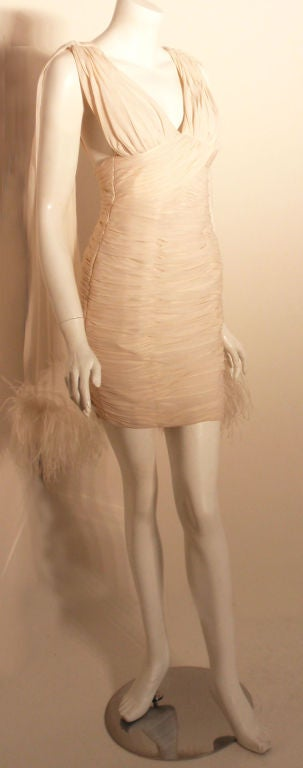 I. Magnin White Ruched Cocktail Dress with Feathers, Circa 1990's  In Excellent Condition For Sale In Los Angeles, CA
