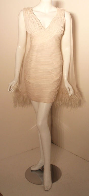 I. Magnin White Ruched Cocktail Dress with Feathers, Circa 1990's  9