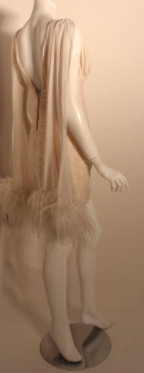I. Magnin White Ruched Cocktail Dress with Feathers, Circa 1990's  5