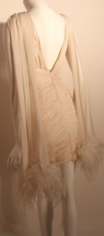 I. Magnin White Ruched Cocktail Dress with Feathers, Circa 1990's  For Sale 1