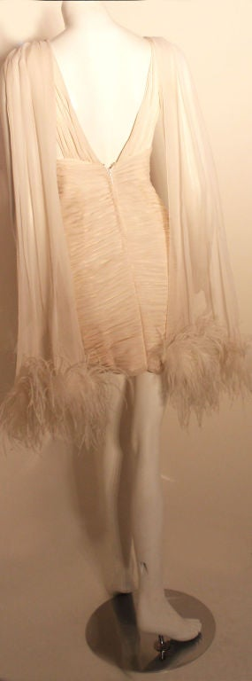 I. Magnin White Ruched Cocktail Dress with Feathers, Circa 1990's  For Sale 2