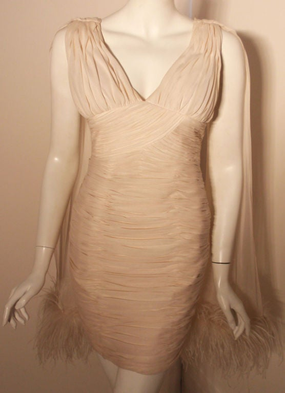 I. Magnin White Ruched Cocktail Dress with Feathers, Circa 1990's  8