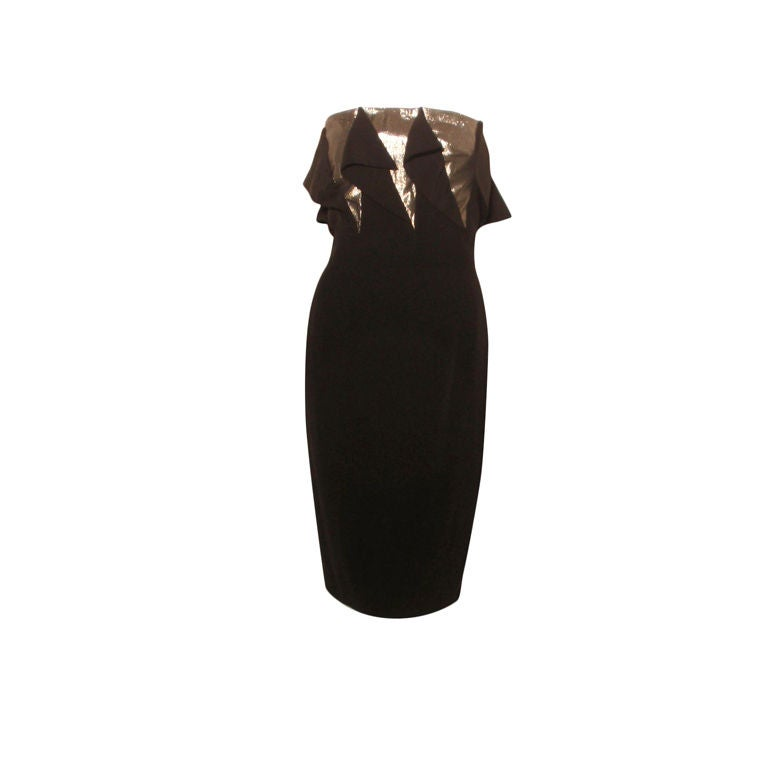 Chloe Black & Silver Peek-a-boo Panel Strapless Cocktail Dress, Circa 1980
