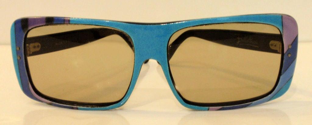 Emilio Pucci Blue Purple Aqua Mod Square Signature Print Sunglasses, 1960's 8
