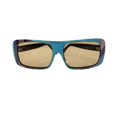 Emilio Pucci Blue Purple Aqua Mod Square Signature Print Sunglasses, 1960's