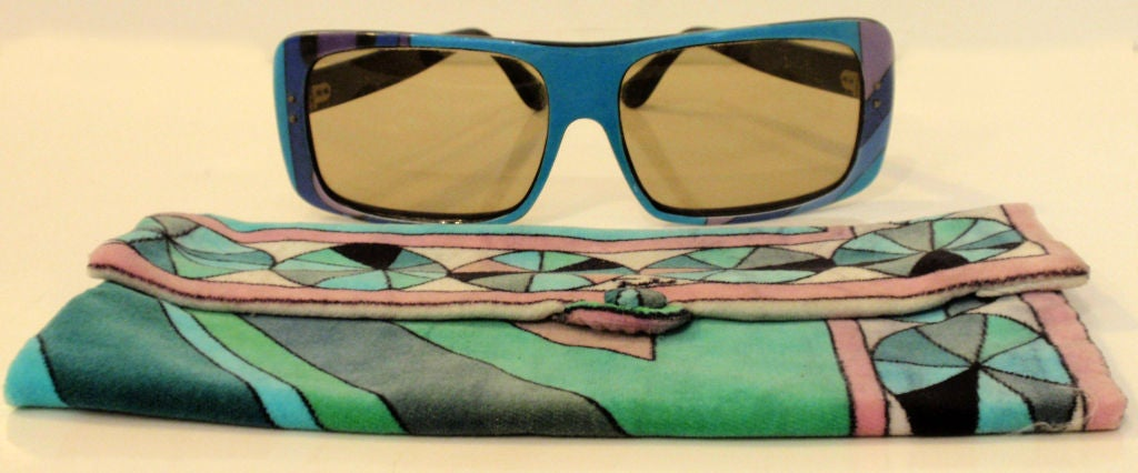 Emilio Pucci Blue Purple Aqua Mod Square Signature Print Sunglasses, 1960's 3