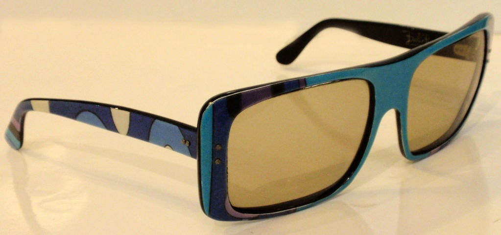 Emilio Pucci Blue Purple Aqua Mod Square Signature Print Sunglasses, 1960's 4