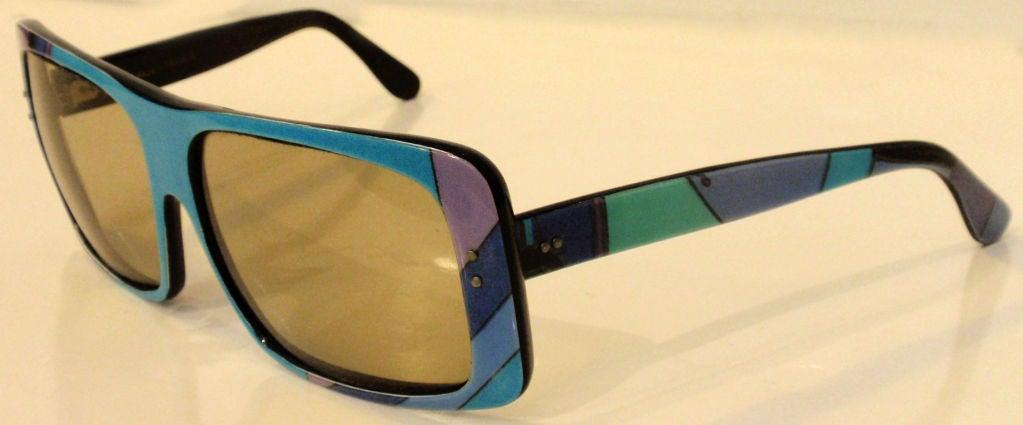 Emilio Pucci Blue Purple Aqua Mod Square Signature Print Sunglasses, 1960's 5