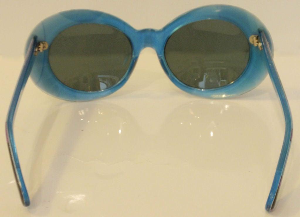 Emilio Pucci Blue Purple Aqua Mod Square Signature Print Sunglasses, 1960's 6