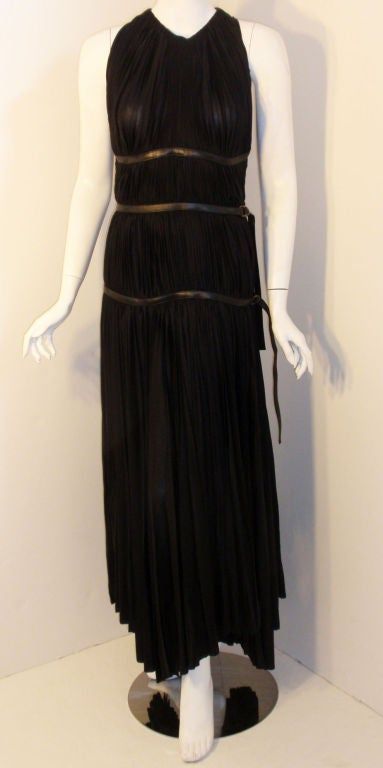 Prada Long Black Pleated Dress, Circa 1990 9