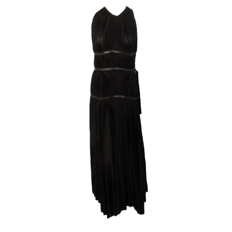 Prada Long Black Pleated Dress, Circa 1990 1
