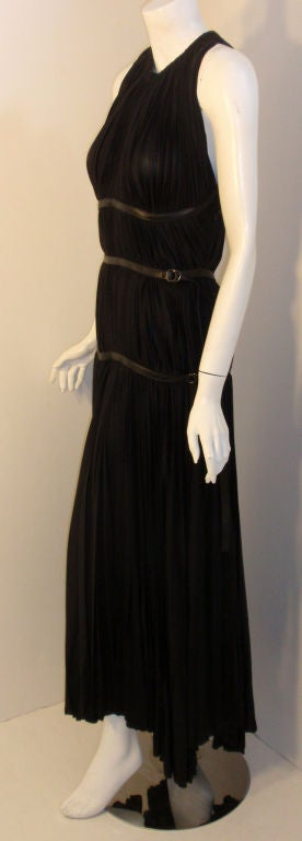 Prada Long Black Pleated Dress, Circa 1990 3