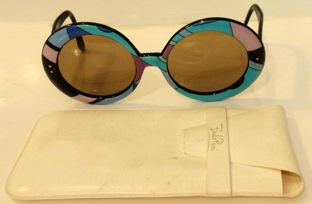Women's Emilio Pucci Large Round Mod Signature Print Sunglasses, 1960