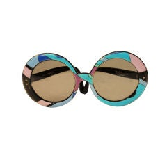 Emilio Pucci Large Round Mod Signature Print Sunglasses, 1960