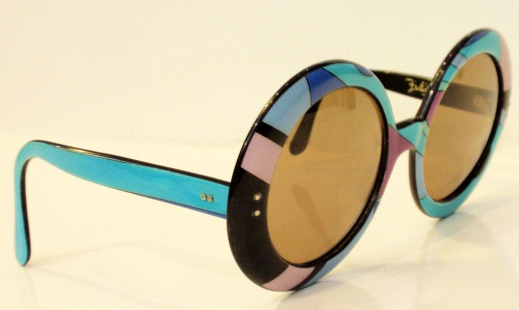 Emilio Pucci Large Round Mod Signature Print Sunglasses, 1960 1