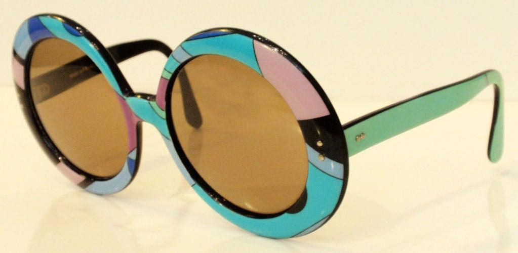 Emilio Pucci Large Round Mod Signature Print Sunglasses, 1960 2