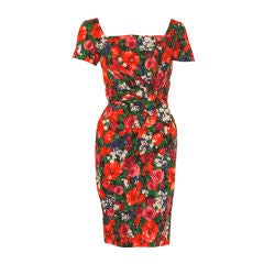 Ceil Chapman Floral Print Polished Cotton Twist Waist Dress, Circa 1950's