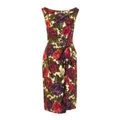 Ceil Chapman Violet Cotton Floral Print Wiggle Dress, Circa 1950's