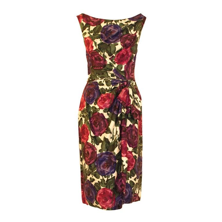 Ceil Chapman Violet Cotton Floral Print Wiggle Dress, Circa 1950's 1