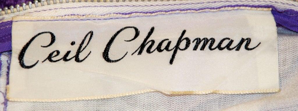 Ceil Chapman Violet Cotton Floral Print Wiggle Dress, Circa 1950's 2