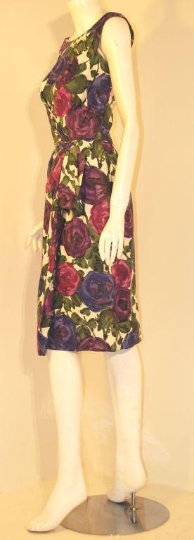 Ceil Chapman Violet Cotton Floral Print Wiggle Dress, Circa 1950's 3