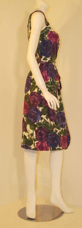 Ceil Chapman Violet Cotton Floral Print Wiggle Dress, Circa 1950's 4