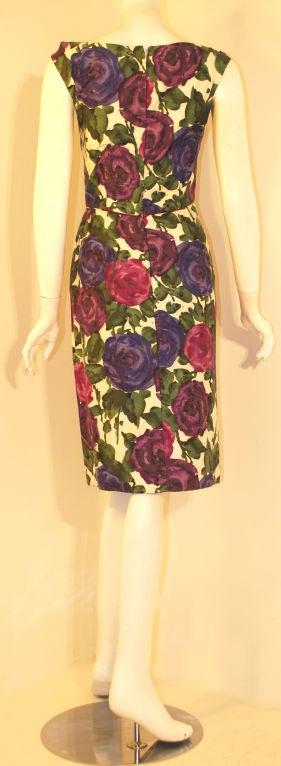 Ceil Chapman Violet Cotton Floral Print Wiggle Dress, Circa 1950's 5