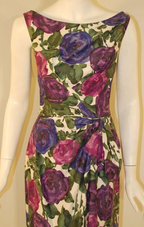 Ceil Chapman Violet Cotton Floral Print Wiggle Dress, Circa 1950's 6
