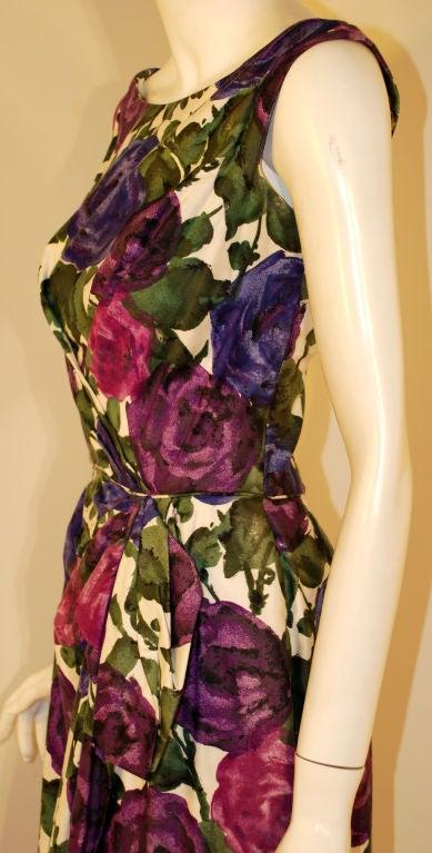 Ceil Chapman Violet Cotton Floral Print Wiggle Dress, Circa 1950's 7
