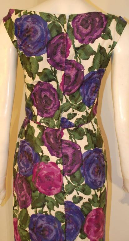 Ceil Chapman Violet Cotton Floral Print Wiggle Dress, Circa 1950's 8