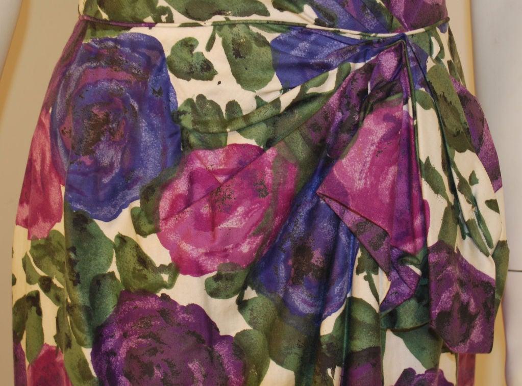 Ceil Chapman Violet Cotton Floral Print Wiggle Dress, Circa 1950's 10