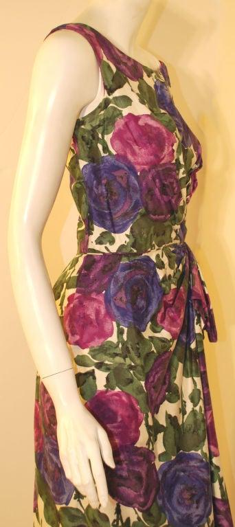 Ceil Chapman Violet Cotton Floral Print Wiggle Dress, Circa 1950's 9