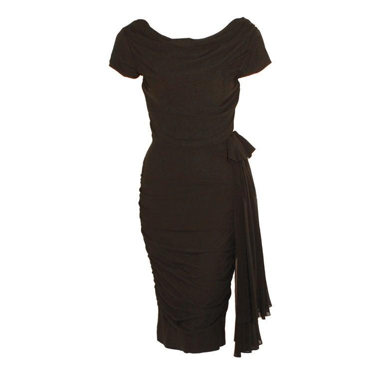 Ceil Chapman  Black Vintage Cocktail Dress, 1950 1